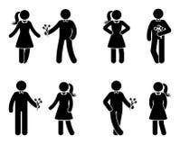 Figura par da vara no grupo do ícone do amor Homem que dá flores ao pictograma da mulher ilustração stock
