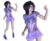 Figura patinador en Violet Dress Imagen de archivo libre de regalías