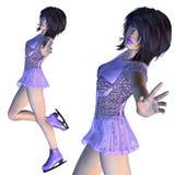 Figura patinador en Violet Dress Fotos de archivo