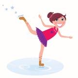 Figura patinagem do treinamento da rapariga Foto de Stock
