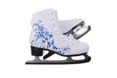 Figura patines de hielo aislados en el fondo blanco Fotos de archivo