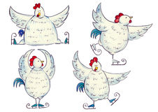 Figura patines del gallo Imagenes de archivo