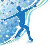 Figura patines del hombre. Plantilla del diseño con el backg de las estrellas Imagen de archivo libre de regalías