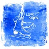 Figura patins em um fundo da aquarela Fotos de Stock
