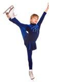 Figura pattinare di sport della ragazza del bambino in pattino bianco. Fotografie Stock Libere da Diritti
