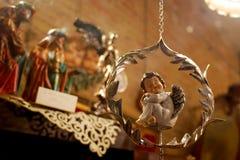 Figura pequena do anjo que sleepping Fotografia de Stock Royalty Free