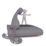 Figura pequena dos desenhos animados que está no grande telefone ilustração royalty free
