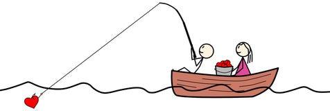 Figura pesca del bastone per i cuori Immagine Stock
