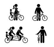 Figura pictograma feliz da vara da bicicleta da equitação da família Mãe, pai e criança passando o tempo junto ilustração stock