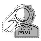figura policía que investiga el icono criminal ilustración del vector