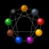 Figura preto de Enneagram das esferas Imagens de Stock Royalty Free