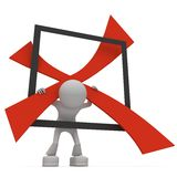 Figura que lleva a cabo un X en un rectángulo Fotografía de archivo