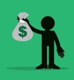 Figura que sostiene el bolso del dinero Imagen de archivo