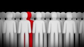 Figura roja que se coloca entre Grey Ones representación 3d Foto de archivo