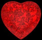 Figura rossa del cuore del diamante sul nero Fotografie Stock Libere da Diritti