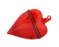 Figura rossa di vetro della decorazione del cuore Immagine Stock Libera da Diritti