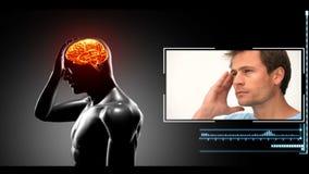 Figura rotatoria con dolores de cabeza destacados de la demostración del cerebro metrajes