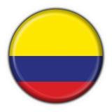 Figura rotonda della bandierina del tasto della Colombia illustrazione vettoriale