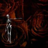 Figura scheletrica e grunge di rosa Immagine Stock