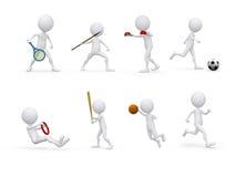 Figura serie di caratteri di sport nelle posizioni differenti illustrazione di stock