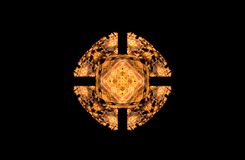 Figura simétrica dourada do fractal abstrato no preto Imagem de Stock Royalty Free