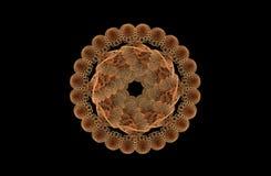 Figura simétrica dourada do fractal abstrato no preto Imagem de Stock