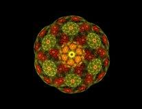 Figura simétrica verde dourada do fractal abstrato Fotos de Stock