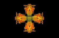 Figura simmetrica verde dorata di frattale astratto Immagine Stock Libera da Diritti