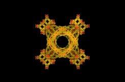 Figura simmetrica verde dorata di frattale astratto Fotografia Stock