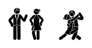 Figura sistema del palillo del icono de los pares del tango Hombre y mujer en el pictograma de la sala de baile stock de ilustración