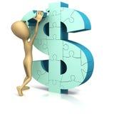 Figura soldi di sollevamento del bastone della parte di puzzle Fotografia Stock
