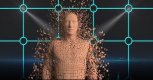 Figura sparsa 3d dell'essere umano sopra fondo astratto Immagine Stock
