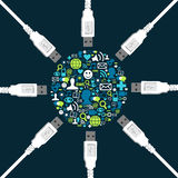 Figura stabilita dell'icona sociale circondata dal USB Fotografia Stock Libera da Diritti