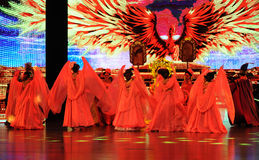 A figura-Um phoenix vem com benevolência ao resto-grande  do show†das encenações da escala o  do legend†da estrada Fotos de Stock Royalty Free