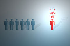 Figura umana con la lampadina Immagine Stock Libera da Diritti