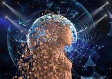Figura umana futuristica 3d sopra fondo astratto Fotografie Stock Libere da Diritti