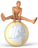 Figura, uomo che salta sopra l'euro moneta Immagine Stock