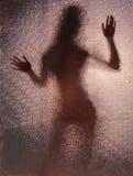 Figura vaga, la siluetta riflessa su vetro strutturato Fotografie Stock Libere da Diritti