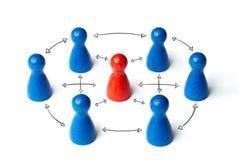 Figura vermelha no meio de 6 figuras Ligado ou conectado com as setas tiradas Conceito para o exchance, liderança ou imagens de stock