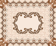 Figural frame in beige tones with decorative border. Figural frame in beige tones with vintage pattern and decorative border Stock Images
