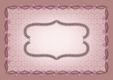 Figural frame on a light lilac background. With an abstract pattern Royalty Free Stock Photo