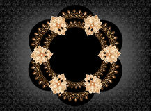 Figural frame in oriental style on a black background. With an abstract pattern Royalty Free Stock Images