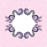 Figural lilac gray frame on pink background. Figural  lilac gray frame  on pink  ornate background Stock Image