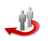 figuras 3D e seta vermelha Imagem de Stock
