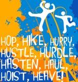 Figuras abstractas con las palabras de la acción, serie de motivación del cartel Imagen de archivo