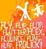 Figuras abstractas con las palabras de la acción, serie de motivación del cartel Imagen de archivo libre de regalías