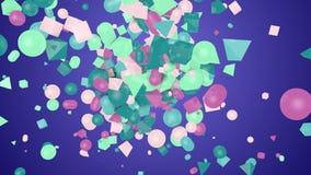 Figuras aleatórias da forma em Violet Backdrop ilustração do vetor