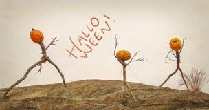 Figuras asustadizas del palillo de la calabaza de Halloween Imagenes de archivo
