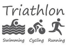 Figuras atletas das silhuetas do triathlon Imagem de Stock Royalty Free