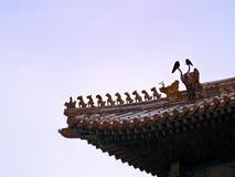 Figuras chinesas tradicionais do telhado, a Cidade Proibida, Pequim fotos de stock royalty free